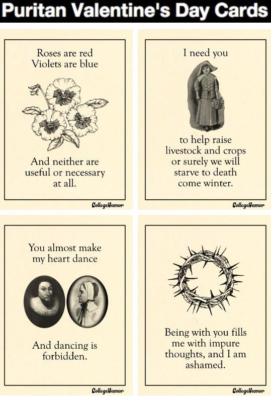 Puritan Valentine's Day cards. The internet wins this round.