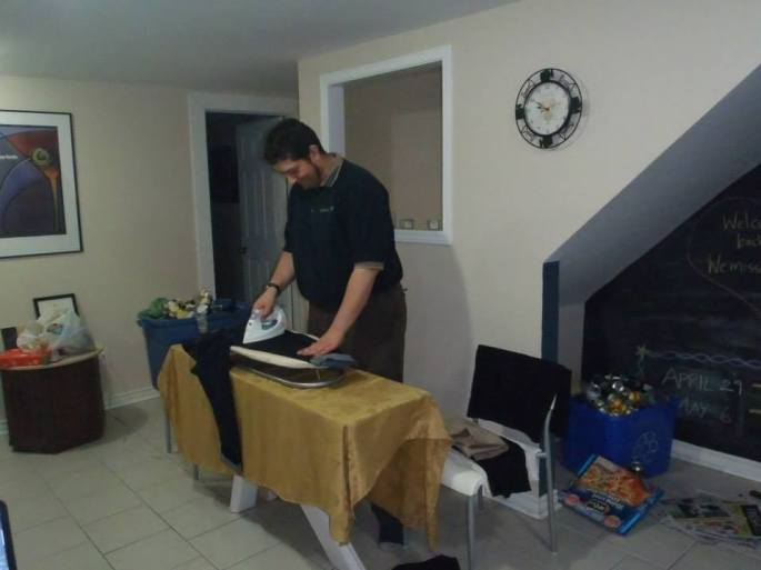My awesome friend Fraser ironing my shirt, because he is so much better at that stuff than I am.